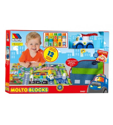 SET BLOCKS CAR + TAPIZ 12 PZAS